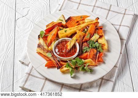 Sunday Roast Dinner: Roasted Parsnip And Carrot With Ras El Hanout Spice: Cinnamon, Turmeric, Anise