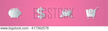 Set Paper Cut Piggy Bank, Dollar Symbol, Broken Piggy And Shopping Cart And Dollar Icon. Paper Art S