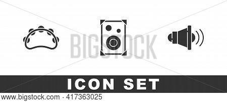 Set Tambourine, Stereo Speaker And Speaker Volume Icon. Vector