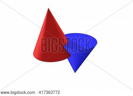Geometric Shapes Cone, Conventionally Female And Male, Red And Blue, Abstract Kiss, Three-dimensiona