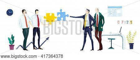 Digital Illustration Group Of Business People Talking And Discussing The Deal. Business Concept