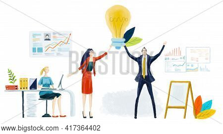 Businessman Holding Up Light Bulb. First Place, The Best Banker, Year Award. Business People Get Awa