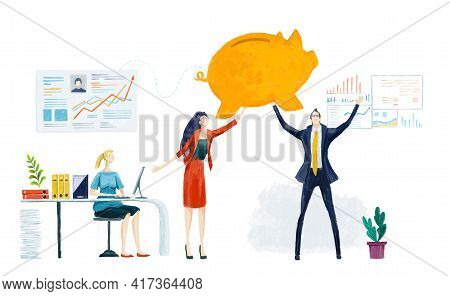 Business People Hold Up Golden Pig. Piggy Bank, Successful Banker, Investment And Financial Growth C
