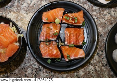 Raw Salmon Or Sliced Salmon, Salmon Sashimi