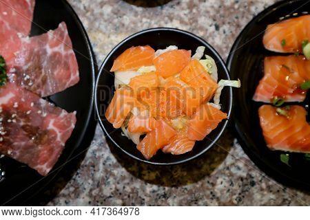 Salmon Salad,raw Salmon Or Salmon Sashimi For Serve