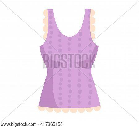 Cute Vibrant Elegant Purple Blouse. Comfortable Bright Clothing Piece With Dark Purple Dots Suitable