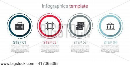 Set Briefcase, Prison Window, Envelope And Courthouse Building. Business Infographic Template. Vecto