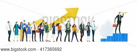 Business People Hold Up Arrow As Symbol Of Success, Growth And Achievemen