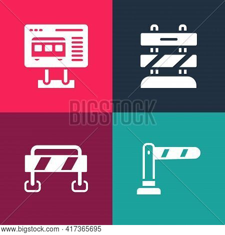Set Pop Art Railway Barrier, Road, End Of Railway Tracks And Ticket Office To Buy Tickets Icon. Vect