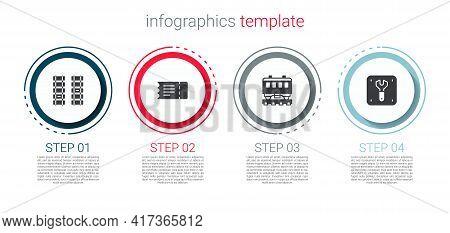 Set Railway, Railroad Track, Train Ticket, Passenger Train Cars And Repair Of Railway. Business Info