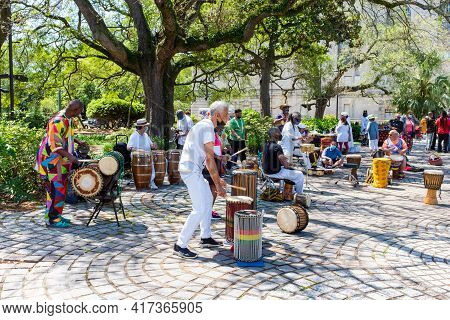 New Orleans, La - April 11: Percussionists Perform In Congo Square To Celebrate The Life Of Alfred
