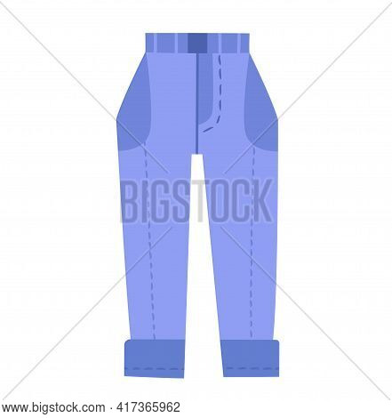 Cute Vibrant Casual Blue Jeans. Comfortable Bright Clothing Piece With Designer Parts Suitable For M