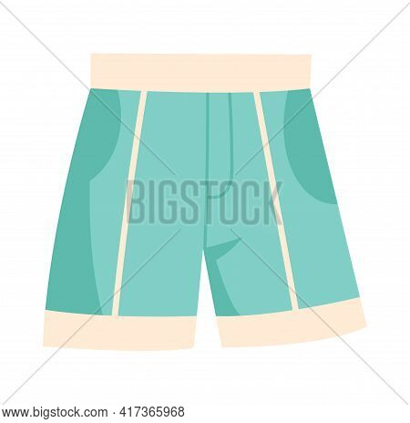 Cute Vibrant Casual Swimming Light Blue Shorts. Comfortable Bright Clothing Piece With Designer Stri