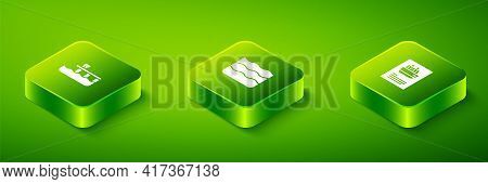 Set Isometric Wave, Cruise Ship And Beach Pier Dock Icon. Vector