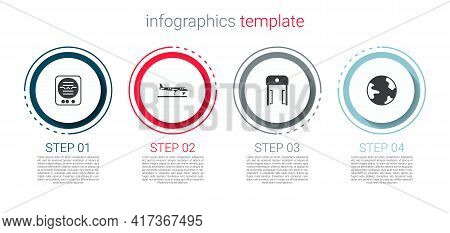 Set Attitude Indicator, Plane, Metal Detector Airport And Worldwide. Business Infographic Template.