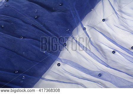 Blue Crumpled Beautifully Draped Lace Festive Tulle Fabric