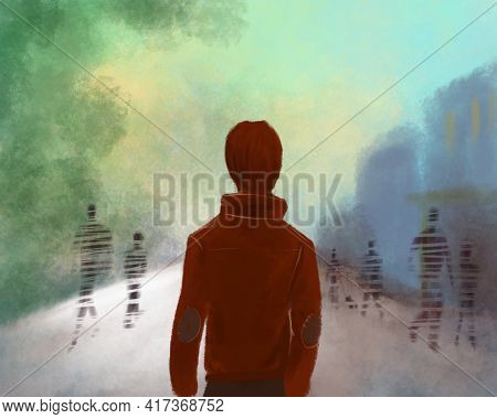 Illusion Of The World. Disappearing Silhouettes Of People. The Figure Of A Man On The Street Looking
