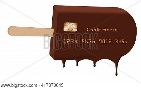 A Chocolate Ice Cream Bar On A Stick Is Decorated To Look Like A Credit Card In This 3-d Illustratio
