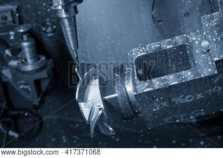 The  5-axis Machining Center Cutting The Boat Propeller With Solid Ball End Mill Tool. The Hi-precis