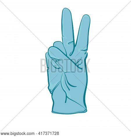 Medical Glove Sign Of Victory. Cartoon Vector Illustration Isolated On White Background. The Concept