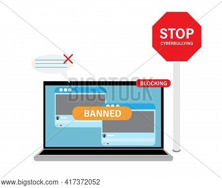 A Vector Of Media Social With Banned Content And Comment Block Caused By Hatred, Body Shaming And Ab
