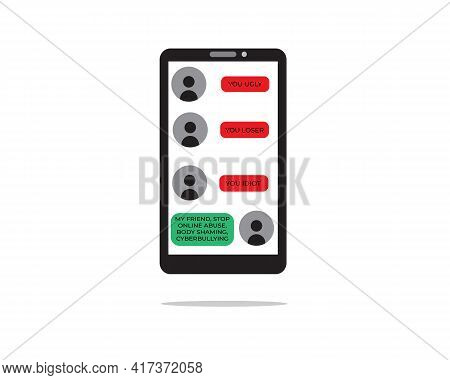 A Vector Of Chatting In Smartphone With Stop Online Abuse And Cyberbullying Message. Cyberbullying A
