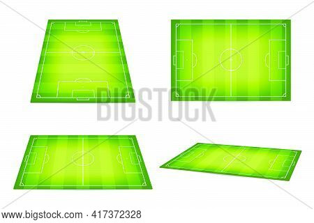 Soccer Field, Football Pitch. Set Of Soccer Fields In Isometric And Top View. Soccer Field Or Footba
