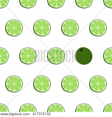 Hand Drawn Seamless Pattern With Circle Sliced Lime. Surface Design. Fabric Print Texture With Eye C