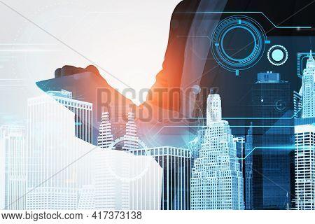 Businessman Browsing Internet Via Tablet Device Over Digital Interface. Concept Of Hitech Internatio