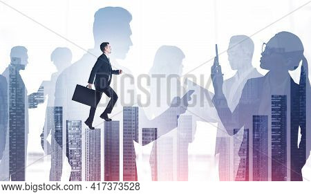 Group Of Business People Communicate With Each Other, Cooperate And Work Together. Businessman Is Wa
