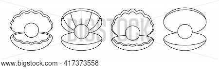 Pearl In Seashell Isolated Outline Set Icon. Vector Illustration Jewelry Ball On White Background. V