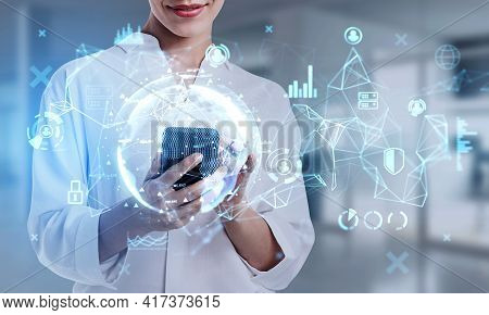 Office Woman Using Smartphone, Digital Device, Network Connection And Business Stock Market Icons. D