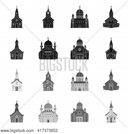 Vector Illustration Of Cult And Temple Symbol. Collection Of Cult And Parish Stock Vector Illustrati