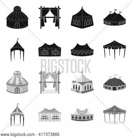 Vector Design Of Roof And Folding Logo. Collection Of Roof And Architecture Stock Vector Illustratio