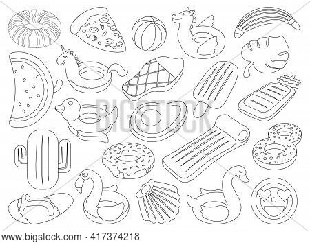 Water Mattress Vector Outline Set Icon. Vector Illustration Inflatable Swimming Equipment On White B