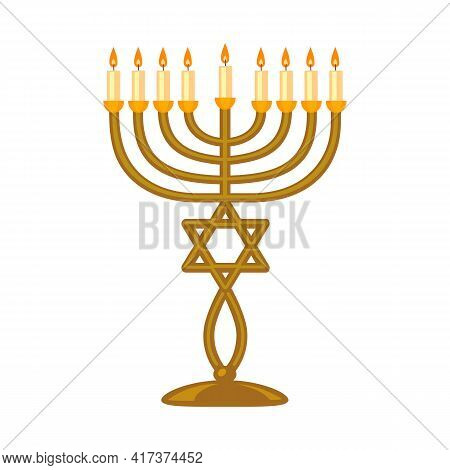 Vector Design Of Menorah And Star Symbol. Web Element Of Menorah And Bright Vector Icon For Stock.