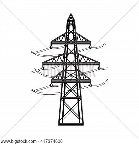 Vector Design Of Pillar And Energetic Sign. Graphic Of Pillar And Station Stock Symbol For Web.