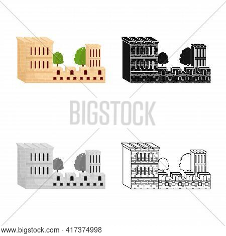 Isolated Object Of Building And Castle Icon. Set Of Building And Fort Vector Icon For Stock.