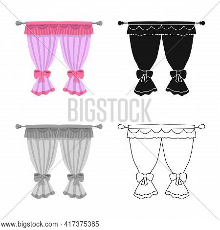 Isolated Object Of Curtain And Window Logo. Collection Of Curtain And Jalousie Stock Vector Illustra