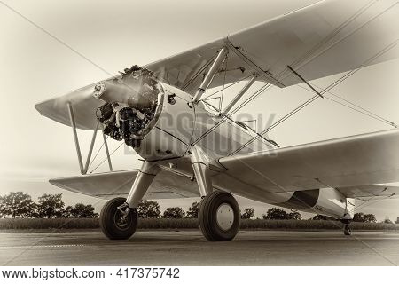 Historical Airplane On A Runway Ready For Take Off