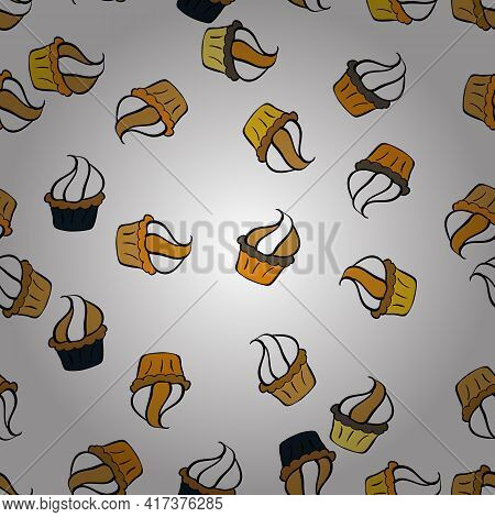 Cupcakes Flavors Doodle Illustration On Yellow, Black And White. Seamless Of Hand Drawn Vintage Styl