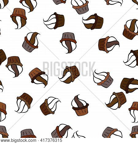 Cake Muffin Cute Seamless Pattern. Nice Birthday Pattern On Brown, White And Black. For Food Poster