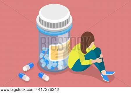 3d Isometric Flat Vector Conceptual Illustration Of Painkiller Addiction.