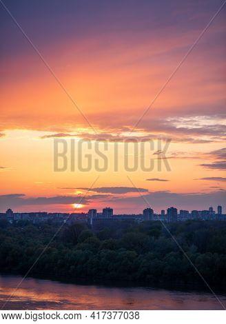 Belgrade Cityscape At Sunset, View From Belgrade Fortress Kalemegdan In Serbia