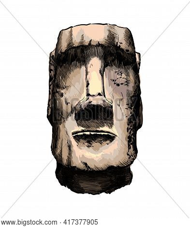 Moai Statue, Easter Island Statue From A Splash Of Watercolor, Colored Drawing, Realistic. Vector Il