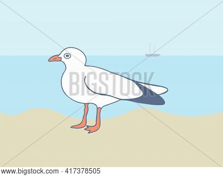 Seagull Standing On The Sand Against The Background Of Water In Sunny Weather. Close-up Vector Image