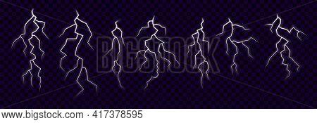 White Lightning Set. Vector Elements For Thunderstorm Design On Transparent Background.