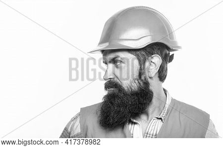 Bearded Man Worker With Beard In Building Helmet Or Hard Hat. Portrait Architect Builder, Civil Engi