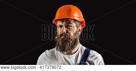 Portrait Builder, Civil Engineer Working. Builder In Hard Hat, Foreman Or Repairman In Helmet. Man B