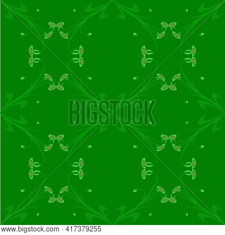 Pattern Green Leaf Flower Cream Wallpaper Graphics Flora